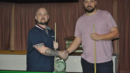 Paul Sparrow, left, beat Mark Hardy, right, to win the inaugural Craig Daniels Memorial Snooker Tour
