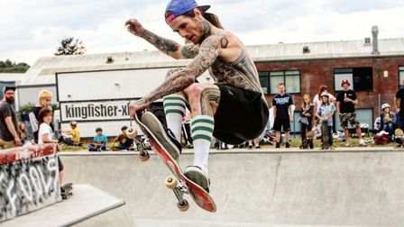 Luke shows off his skateboarding skills Picture: ANDREW JARVIS