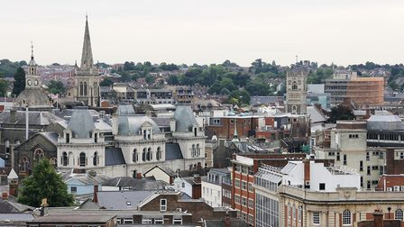A view over Ipswich Town centre from the top of the Axa building in Civic Drive. Picture: Paul Nixon