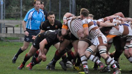 Colchester's Brett Cutbush urges his forwards on as they decimate Southend's scrum. Picture: COLCHES