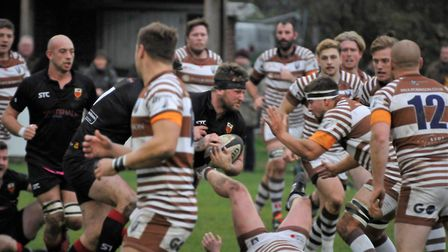 Colchester captain Brock Price boshes defenders out of his path at Southend. Picture: COLCHESTER RFC