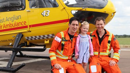 Annabel Brightwell meets the air ambulance crew who saved her life Picture: EAAA