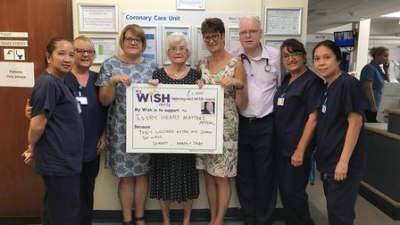 Pictured left to right are hospital staff Dory Recide and Jane Connor, Sally Hobbs, Shirley Jacob, M