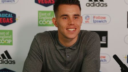 Jonas Knudsen during his press conference at Playford Road. Picture: ROSS HALLS
