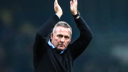 Town manager Paul Lambert applauds the huge ITFC support after the Ipswich Town v West Bromwich Albi