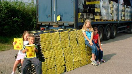 Schoolchildren at an Ipswich Borough Council recycling launch for old Yellow Pages in 2002. Picture: