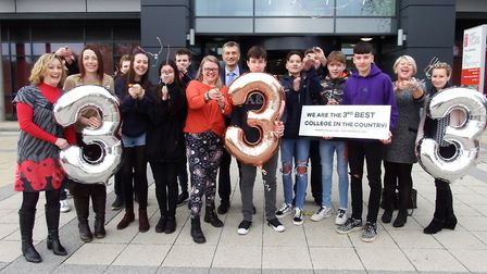 Staff and students at West Suffolk College in Bury St Edmunds celebrate after securing third place i