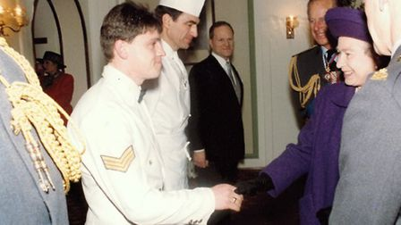Robert Ley meeting the Queen at the RAF 75th anniversary dinner at RAF Marham. Picture: RAF