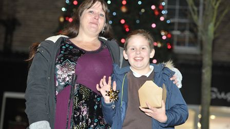 Rachael and Logan enjoyed the Stowmarket Christmas lights switch on Picture: SARAH LUCY BROWN