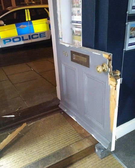 Police say that the door of the shop was smashed open using an unknown object Picture: SEAN GARNHAM