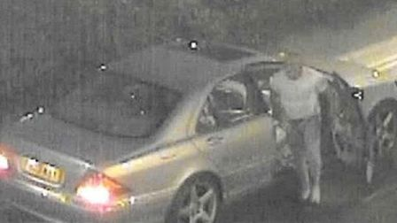 CCTV image of the man with his car that police want to trace in connection with an incident in Haver