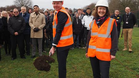 Douglas Field, Chair of New Anglia LEP and Sarah Bowers, Project Manager for the project at the laun