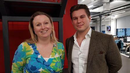 Jessica Hill with James Feltwell of currency exchange provider 1FX