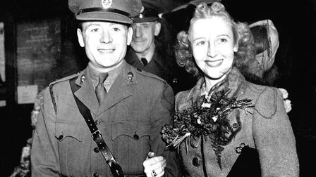 JANUARY 1941: The wedding of actor John Mills, in his uniform as a Second Lieutenant, and Miss Hayle