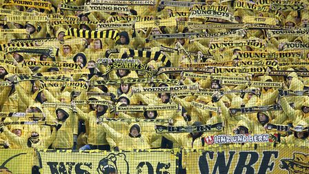 Young Boys fans during the UEFA Champions League at Old Trafford recently Photo: PA