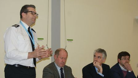Suffolk Chief Constable Gareth Wilson addresses a rural crime meeting in Lavenham, with Tim Passmore