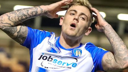 Sammie Szmodics, who came closest to scoring for the U's, with an effort just before the half-hour m