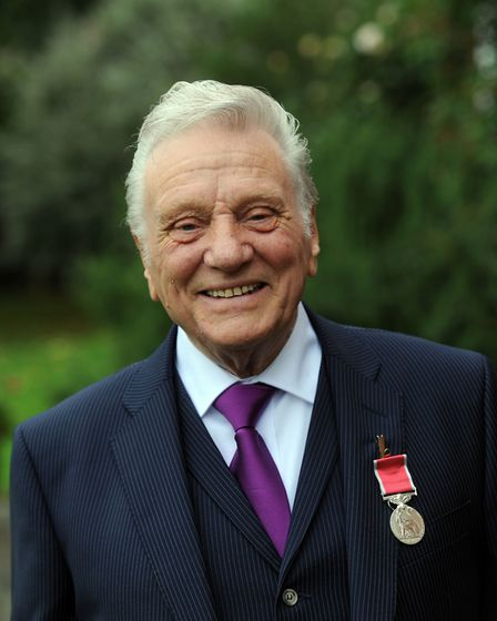 Ernie Broom at the British Empire Medals Investiture at Euston Picture: PHIL MORLEY