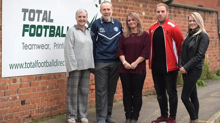 (L-R) Winners of the Club Together competition Jill and Peter Douglass (Leiston FC) , Karen Cornfort