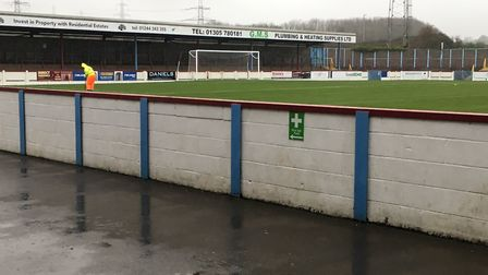 The wet and depressing scene at Weymouth FC's Bob Lucas Stadium, 90 minutes before the sceduled kick