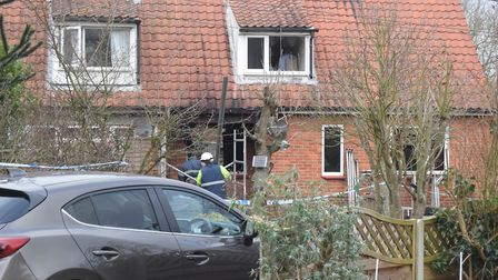 The scene of the house fire in Yoxford. Picture: ANDREW PAPWORTH