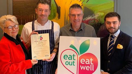 The Swan's gold accreditation in the Eat Out, Eat Well Campaign, from left, Mary Rudd, Rory Whelan,