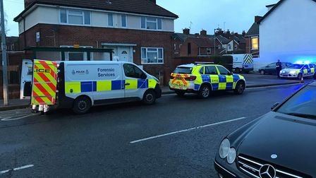 Forensic vans pictured after the Turin Street incident Picture: ARCHANT