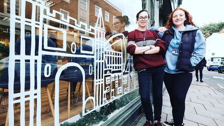 Colchester Institute students Rebecca Roper and Talia Reeve designed a Christmas window display for