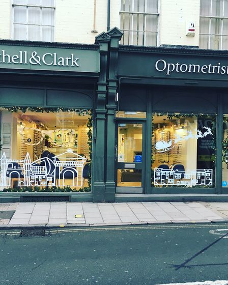 Christmas window display for Colchester opticians, designed by local Colchester Institure students