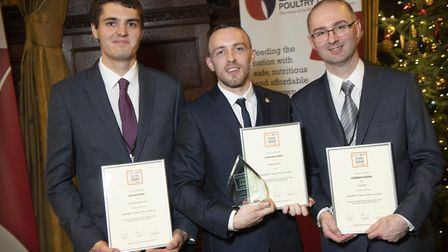 Award winner Jonathan Bowen (centre) pictured with the other finalists Sam Whitmore of Suffolk (left