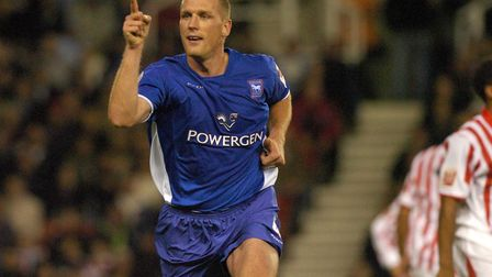 Jason De Vos scores his first goal for Ipswich against Stoke in 2004