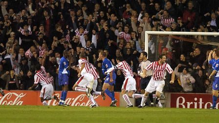 Stoke celebrate in the Ipswich penalty area as they equalise in their 3-2 win over Town in 2004
