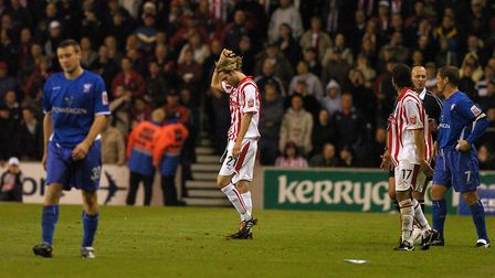 Stoke's John Halls is given his marching orders against Ipswich in 2004