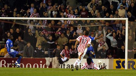 Ade Akinbiyi gives Stoke all three points at The Britannia Stadium in their 3-2 win over Town in 200