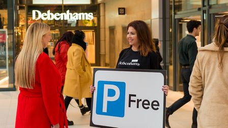 Shoppers learn about Debenhams free parking