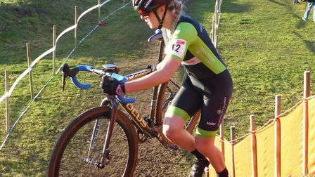 Gemma Melton (Pedal Power Ipswich) comes over the top of the steps at Trinity Park. Picture: FERGUS