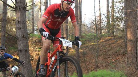 Paul Watson (West Suffolk Wheelers) was in a battle for third place at the West Bilney MTB Races. Pi