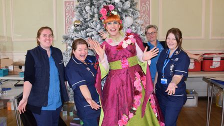 Actor Chris Clarkson (Nanny Fanny) gave blood in full costume in Bury St Edmunds Picture: THEATRE RO