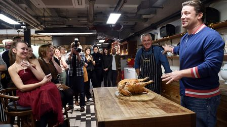 Paul Kelly of KellyBronze and chef Jamie Oliver holding a turkey masterclass at at Jamie Oliver HQ P