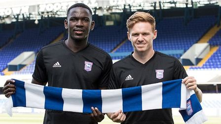 Toto Nsiala and Jon Nolan joined Ipswich Town in a �2m double deal from Shrewsbury. Picture: ITFC