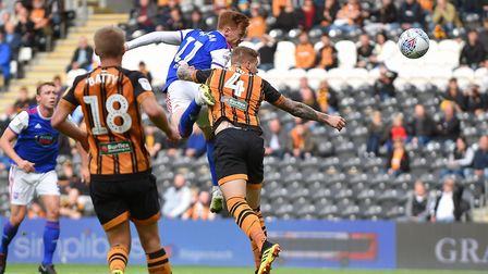 Jon Nolan heads a good chance wide of the target during the first half at Hull City. Photo: Pagepix