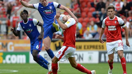 Jon Nolan goes in for a second half challenge at Rotherham. Photo: Pagepix