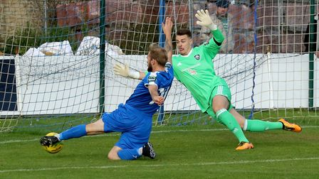 Leiston's Robert Eagle, left, misses out for the Blues Picture: JOHN HEALD