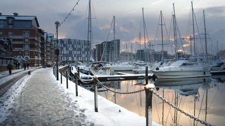 A week before Christmas in 2009, snow covered the Ipswich Waterfront and was still about on the day