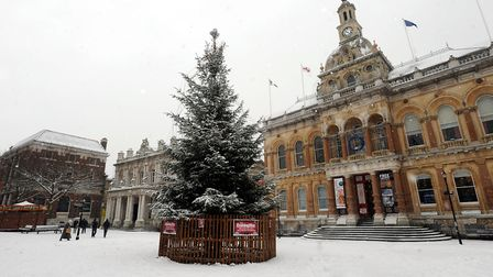 Days before Christmas in 2010, the Cornhill in Ipswich looked like a Christmas card scene. Picture: