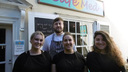 The team at Cafe Med, Trinity Street, Colchester Lily Rice, chef Chris Leeson, Sade Brown and owner