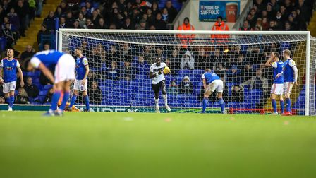 Town players in despair after conceding the first as Bristol levelled 1-1 at Portman Road. Pictur