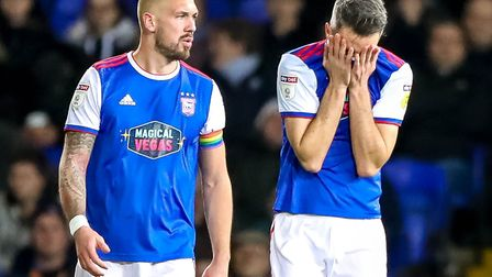 Cole Skuse can't look and Luke Chambers isn't happy after Town went behind in the 3-2 defeat by Bris