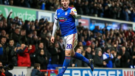 Freddie Sears was jumping for joy after giving Town a first half lead. Picture: STEVE WALLER