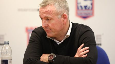 Town manager Paul Lambert talks to the media this morning. Picture: STEVE WALLER WWW.STEPHENW